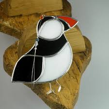 stained glass puffin suncatcher window ornament