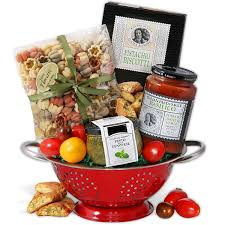 italian gift basket with keepsake colander by gourmetgiftbaskets