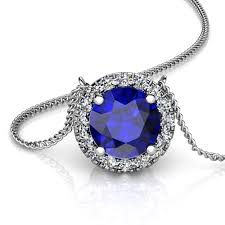 sapphire gem necklace images Platinum round created sapphire and diamond halo pendant union png