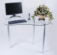 wonderful small desk computer with modern tempered glass corner