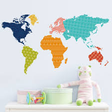 World Map Wall Decal Colourful World Map Wall Sticker Zoo Yoo