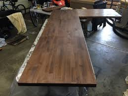 Steel Pipe Desk by Finishing Up The Second Butcher Block Galvanized Steel Desk