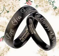 Black Wedding Rings For Her by Couple Black Silver Wedding Rings Anniversary Bands Titanium Rings
