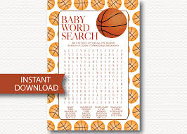 baby shower sports invitations basketball baby shower word search game card instant