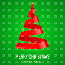 christmas tree made of red ribbon on green background vector image