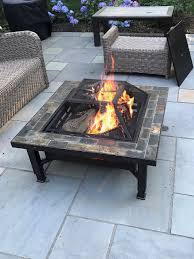 global outdoors fire table global outdoors 34 in adjustable leg square slate top fire pit with