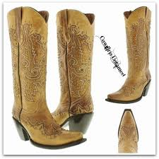 light colored cowgirl boots cowgirl style metal studded and embroidered tall light brown genuine
