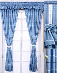 Blue Plaid Curtains Polyester Mediterranean Style Room Country Plaid Curtains No