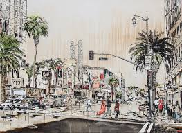 original large scale painting of hollywood boulevard and vine