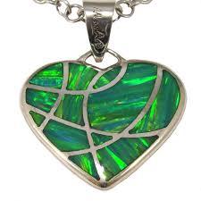 opal pendant necklace australia images Green opal pendant heart shape sterling silver pendant necklace jpg