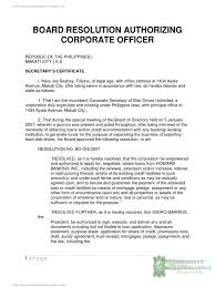 board resolution authorizing corporate officer loans credit