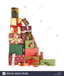 decorative bows high up stack of christmas presents with beautiful decorative bows