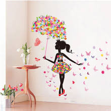 girls bedroom wall decals diy wall stickers pvc large wall sticker pink girl butterfly