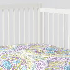 aqua and purple jasmine crib sheet carousel designs