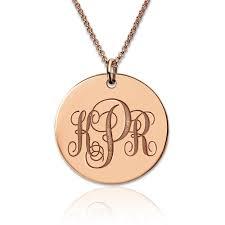 gold monogrammed necklace gold disc engraved monogram necklace