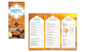 indian menu template indian restaurant take out brochure template design