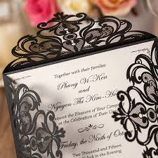 and black wedding invitations affordable shiny black laser cut wedding invitations ewws027 as
