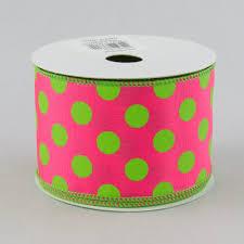 polka dot ribbon 2 5 big polka dot ribbon hot pink lime green 10 yards
