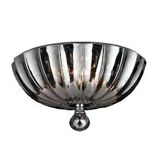 3 Bulb Flush Mount Ceiling Light Fixture by Mansfield Collection 3 Light Chrome Finish And Smoke Crystal Bowl
