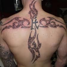 big cross design back tattoos design idea for and