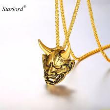 necklace aliexpress images Evil devil damon horn pendant necklace gold black stainless steel jpg