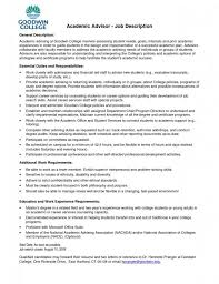 Financial Analyst Job Description Resume by Academic Advisor Resume Template Billybullock Us