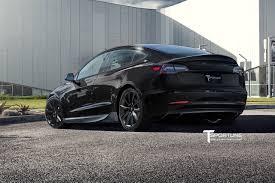 black tesla model 3 with matte black 19 inch tst wheels by t
