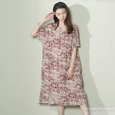 pink linen sundress floral plus size summer dress short sleeve