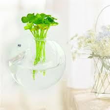 Acrylic Flower Vases Wall Mounted Hanging Bubble Bowl Plant Fish Tank Aquarium Acrylic