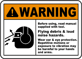 ansi z535 table 130 7 f flying debris loud noise hazards sign i2005 by safetysign com