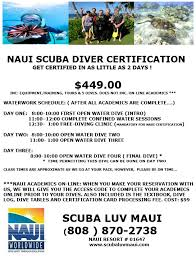 Padi Dive Tables by Maui Scuba Diving Open Water Dive Certification On Maui Naui