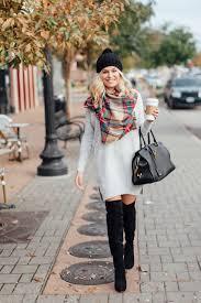 sweater dress and grey sweater dress tartan scarf winter idea