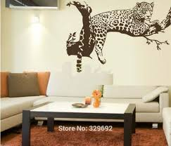 wall decorations stickers promotion shop for promotional wall free shipping large leopard vinyl wall sticker home decoration animal wall decor wall mural wallpaper tx 033
