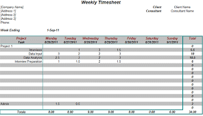 weekly timesheet for consultants on projects