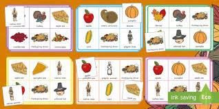 thanksgiving bingo matching thanksgiving day matching