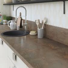 peinture pour plan de travail de cuisine crédence stratifié effet étain cuivre h 64 cm x l 300 cm leroy merlin