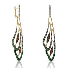 wing earrings orange sapphire tsavorite diamond wing earrings 14k ben
