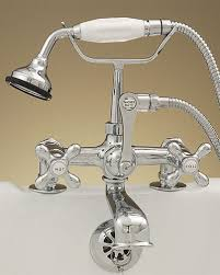 old fashioned deck mount tub faucets with hand held shower