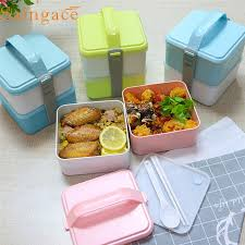 home necessities realiable home necessities portable 2 layers bento plastic food