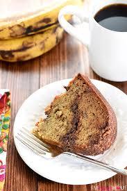 banana coffee cake with chocolate pecan streusel