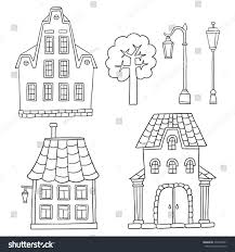set different houses vector sketches houses stock vector 291845831
