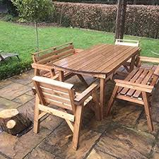 patio table and bench 6 table 2 benches 2 chairs solid wooden garden furniture set