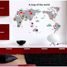 wall sticker with country flag worldmap wall sticker with country flag