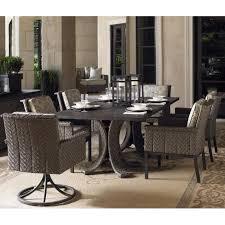 tommy bahama blue olive 6 person wicker patio swivel rocker dining