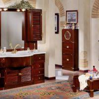 bathroom design and decoration using mahogany bathroom vanity