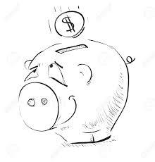 money cartoon pig money box sketch icon royalty free cliparts