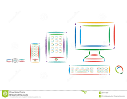 set of different modern tech devices colorful line art editable