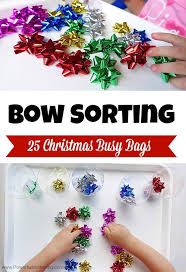 bags of christmas bows bow sorting christmas busy bags simple christmas busy bags and bag