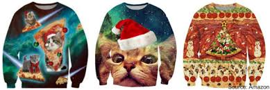 cat sweater cats with santa hats and pizza a winning sweater combin
