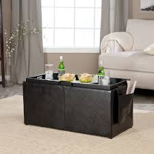 coffee table furniture brown leather square ottoman coffee table